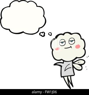 freehand drawn thought bubble cartoon cute cloud head imp - Stock Image