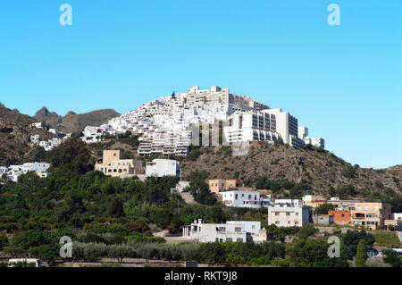 Mojacar has been described as one of the most beautiful villages in Spain.  This Moorish village is in the Province of Almería in Andalucia. - Stock Image