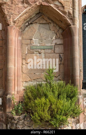 The remnants of The Smiths Chapel, located in the ruins of the old Coventry Cathedral which was destroyed in a bombing raid during the Seond World War - Stock Image