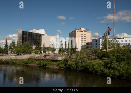View of the Chena River and Golden Heart Plaza from the Cushman Street bridge in Fairbanks, Alaska. - Stock Image