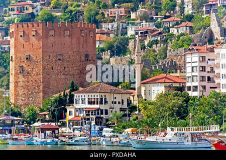 The Red Tower Alanya Turkey - Stock Image