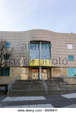 Poznan, Poland - March 20, 2018: Front.entrance of the Music Academy building in the city center - Stock Image