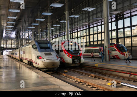 Spain, Cadiz, Railway Station, medium and long distance trains at platform - Stock Image