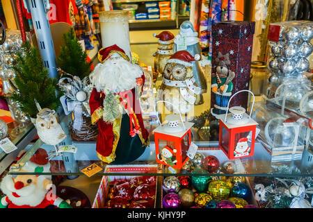 LANZAROTE, SPAIN-5th Nov 2017: Christmas decorations on sale at the  Fariones Market in Puerto del Carmen. - Stock Image