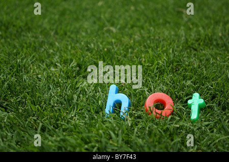 The word 'hot' spelled out in colourful plastic letters, on green grass, taken from a low angle - Stock Image
