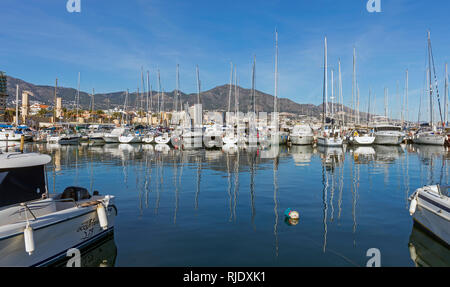Fuengirola, Costa del Sol, Malaga Province, Andalusia, southern Spain. Pleasure craft in harbour. - Stock Image