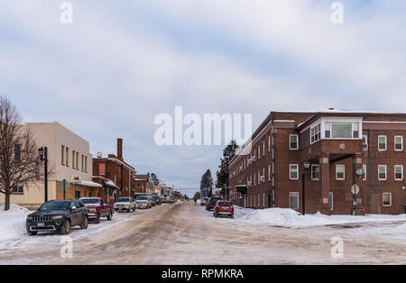 Snow covered street of Two Harbors, Minnesota, USA. - Stock Image