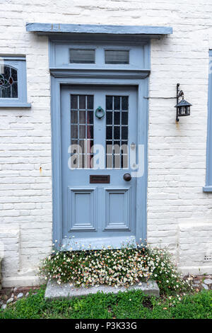 Blue and white painted door in Church Square in Rye, East Sussex, England, UK - Stock Image