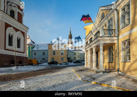 Winter day in Tallinn old town. - Stock Image