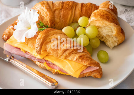 Breakfast or lunch Ham and Cheese Fresh baked Croissant Sandwich - Stock Image