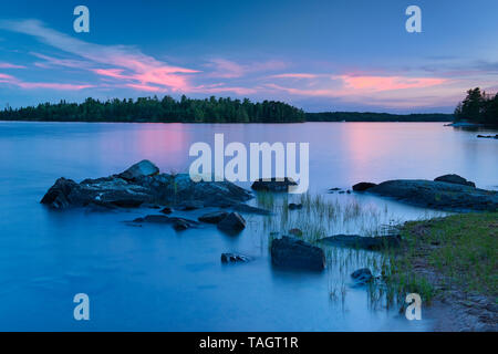 Dusk on Lake of the Woods, Sioux Narrows Provincial Park, Ontario, Canada - Stock Image