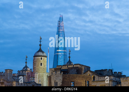 The Shard and Tower of London at dusk - Stock Image