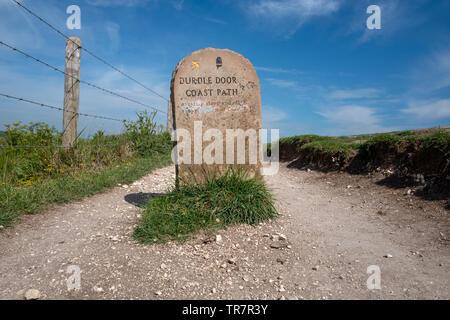 The coastal path at Lulworth Cove in Dorset - Stock Image