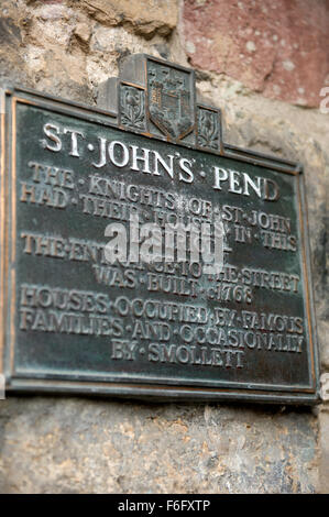 The brass plaque for St Johns Pend indicating that the Knights of St John had their houses in this district 1768 - Stock Image
