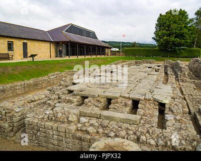Historical site with remains of a Roman Granary and an Exhibition Centre near Hadrian's wall at Corbridge Northumberland UK - Stock Image