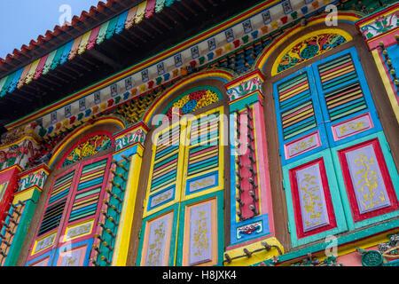 Colourful Heritage Villa, the residence of Tan Teng Niah, Little India, Singapore, Southeast Asia, Asia - Stock Image