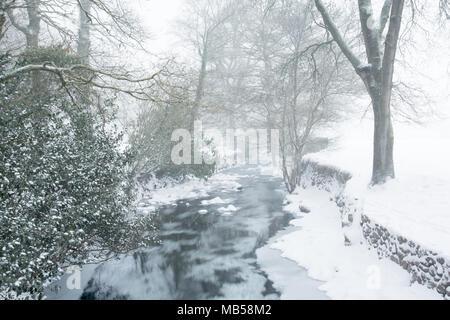 East Okement river running through Simmons park Okehampton Devon Uk - Stock Image