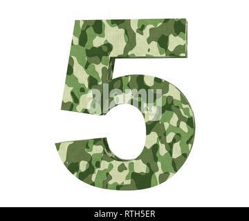 3D rendering Camouflage number 5 five. 3D render Illustration. - Stock Image