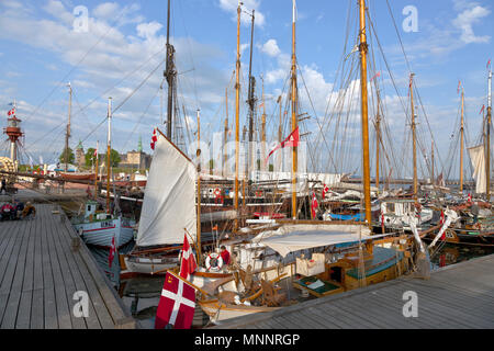 Historical days of more than 100 wooden ships in Elsinore Culture Harbour at Pentecost or Whitsun in Helsingør, Elsinore, Denmark. Kronborg Castle. - Stock Image