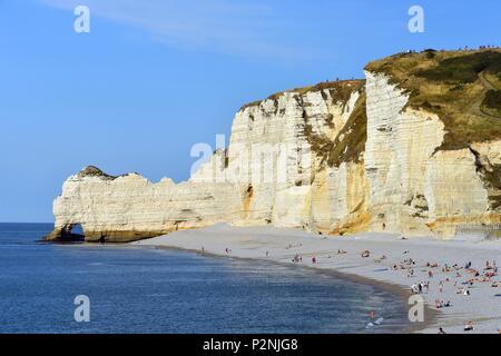 France, Seine Maritime, Pays de Caux, Cote d'Albatre (Alabaster Coast), Etretat and it's beach and the Amont cliff - Stock Image