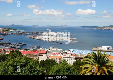 View of the port of Vigo, Spain from Concella de Vigo - Stock Image
