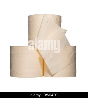 Three toilet rolls cut out on a white background - Stock Image