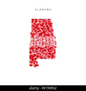 I Love Alabama. Red and Pink Hearts Pattern Vector Map of Alabama Isolated on White Background. - Stock Image