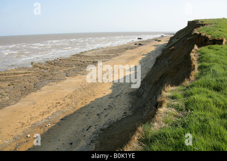 Beach and Cliffs at the Naze, Walton on the Naze, Essex. Erosion by the North Sea - Stock Image