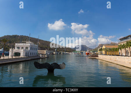Cartagena Murcia Spain view of the port including Cola de ballena the art sculpture of a whale tail - Stock Image