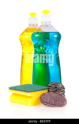 Liquid detergent bottles with scouring pad, stainless steel and steel wool soap pads isolated on white background - Stock Image