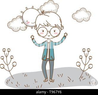 Stylish boy blushing cartoon outfit jeans jacket hands up  nature clouds background frame and sun vector illustration graphic design - Stock Image