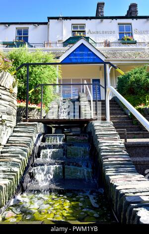 Ambleside Salutation health club and spa waterfall, Lake District,Cumbria,England,UK - Stock Image