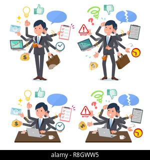 A set of businessman who perform multitasking in the office.There are things to do smoothly and a pattern that is in a panic.It's vector art so it's e - Stock Image