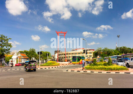 Bangkok, Thailand - 2nd August 2017: The Big Swing is one of many tourist attraction. It is located at a very busy junction. - Stock Image