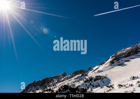 Early morning sun over Obertauern, Austria - Stock Image