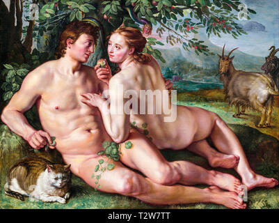 Hendrik Goltzius, The Fall of Man, Adam and Eve painting, 1616 - Stock Image