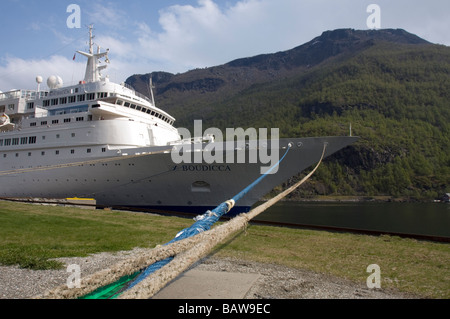 Cruise ferry on the quay in Flam, Norway - Stock Image