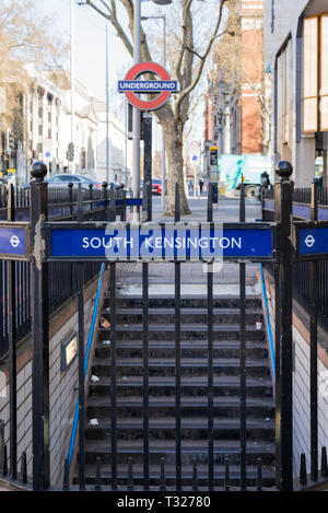 Entrance and stairs into South Kensington underground station, London, England, UK - Stock Image