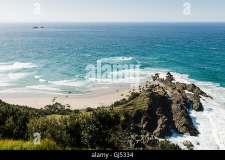 Overview over Little Wategos Beach and Cape Byron in Byron Bay. - Stock Image