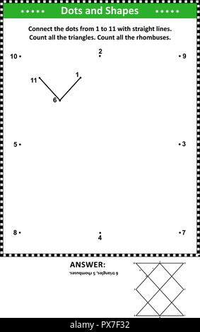 IQ and spatial skills math activity with dot to dot drawing and basic shapes counting (triangles and rhombuses). Answer included. - Stock Image