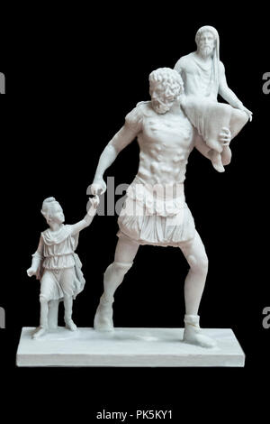 Merida, Spain - September 4th, 2018: Aeneas sculptorical group. Resin 3d reconstruction. National Museum of Roman Art in Merida, Spain - Stock Image