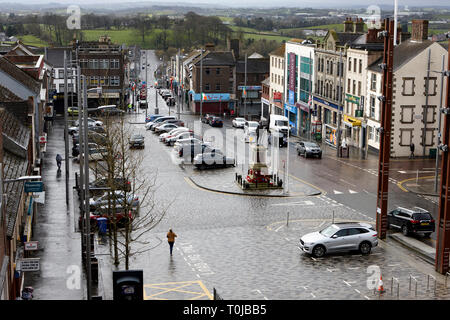 Looking down over dungannon market square on a wet day dungannon county tyrone northern ireland uk - Stock Image