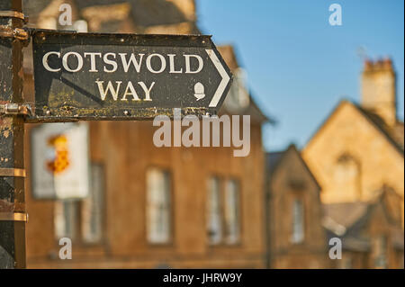 Cotswold Way footpath marker sign in the market town of Chipping Campden, northern end or start of the rural long - Stock Image