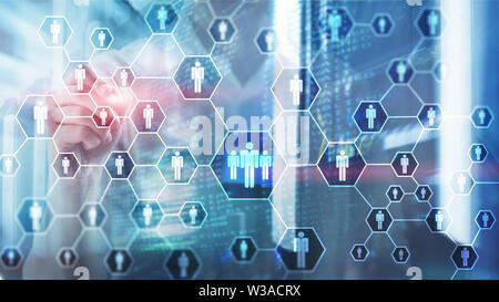 HR, Human Resources, Recruitment, Organisation structure and social network concept. - Stock Image