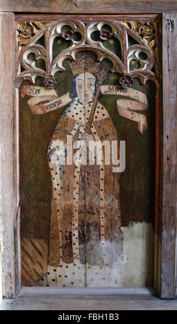 Painted saints on the rood screen. King Henry 6th. Barton Turf Church, Norfolk - Stock Image