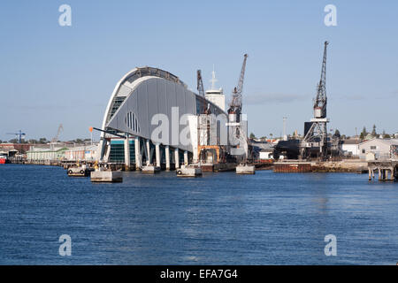 Fremantle maritime museum and old cranes beside the Swan river, Perth. Western Australia - Stock Image