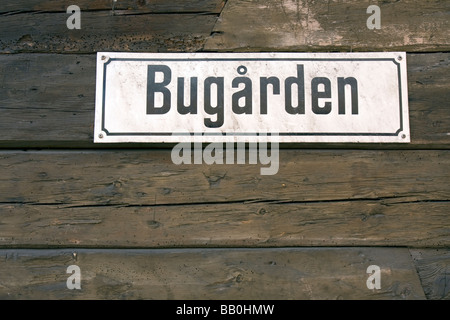 Bugarden, streetname sign, Bergen, Norway - Stock Image