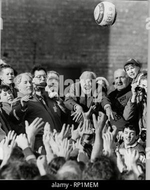 Lord Lothian  starts the a Medieval football game played annually on Shrove Tuesday and Ash Wednesday in the town of Ashbourne in Derbyshire The Ashbourne game also known as 'hugball' has been played from at least  1667 although the exact origins of the game are unknown  7th February 1989 - Stock Image