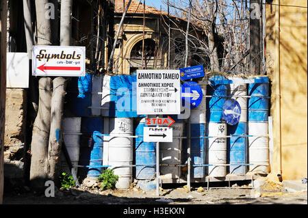 The DMZ  between the Greek and Turkish border in Nicosia, Cyprus. - Stock Image