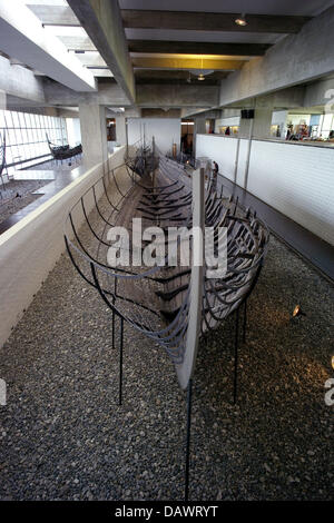 A Viking ship of the 11th century, discoverd in the Roskilde fjord in 1962, is presented in the ship hall of the - Stock Image